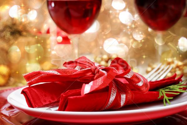 Decorated Christmas Dinner Table Stock photo © Melpomene