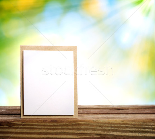 Kézzel készített kártya nap nyaláb fa deszka papír Stock fotó © Melpomene
