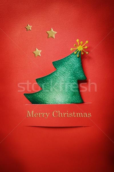 Handgemaakt papier boom kerstboom vrolijk christmas Stockfoto © Melpomene