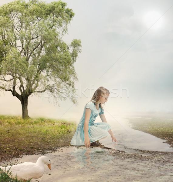Young Girl at a Brook Stock photo © Melpomene