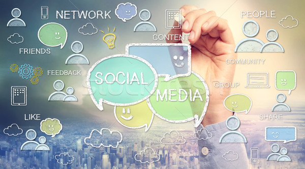 Social media texts and cartoon Stock photo © Melpomene