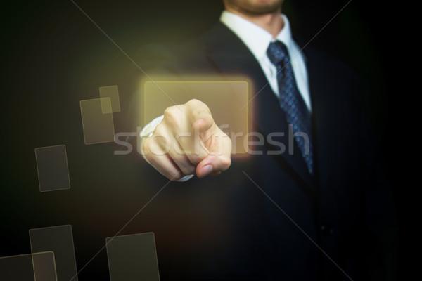 Uomo touch screen pulsante business Foto d'archivio © Melpomene
