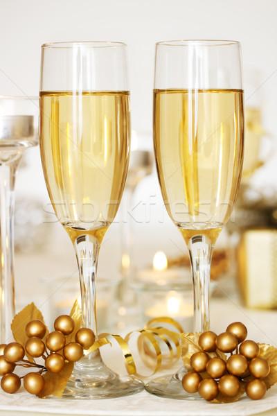 Сток-фото: шампанского · очки · два · обеденный · стол · стекла · зима
