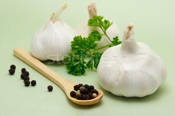 продовольствие Ингредиенты чеснока петрушка перчинка лист Сток-фото © Melpomene