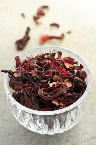 Aszalt hibiszkusz tea üveg csésze virág Stock fotó © Melpomene