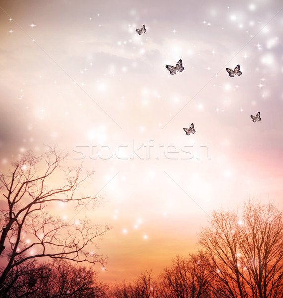 Butterflies on red trees background Stock photo © Melpomene