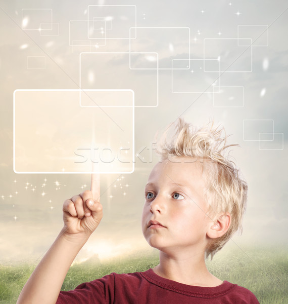 Young Blonde Boy Looking and Pointing Stock photo © Melpomene