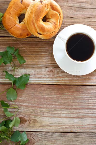 コーヒー カップ 木製のテーブル 食品 ドリンク 黒 ストックフォト © Melpomene