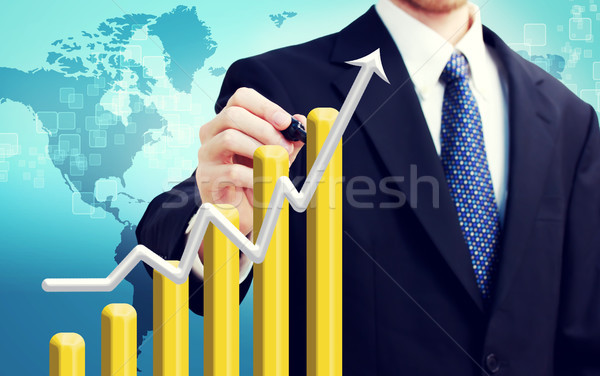Stock photo: Businessman with Rising Graph