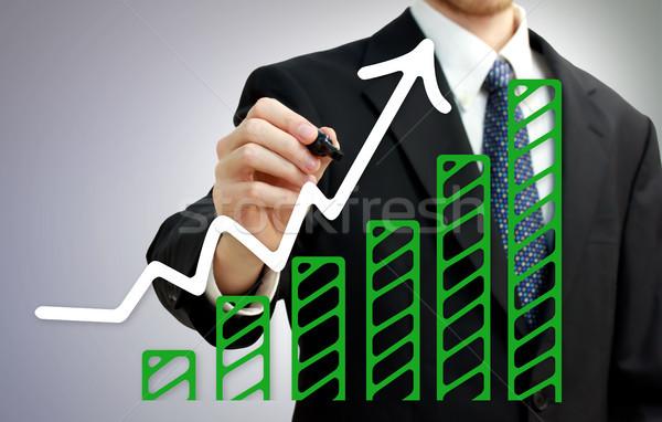 Stock fotó: üzletember · rajz · emelkedő · nyíl · növekvő · zöld