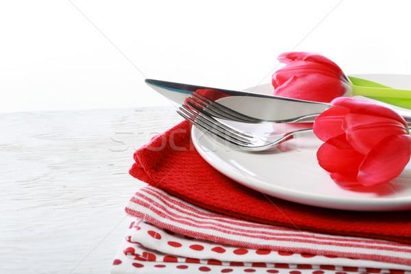 Stoviglie rosso tulipani piatto coltello forcella Foto d'archivio © Melpomene