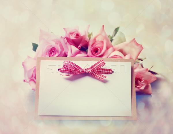 Сток-фото: Vintage · роз · сообщение · карт · красивой · розовый