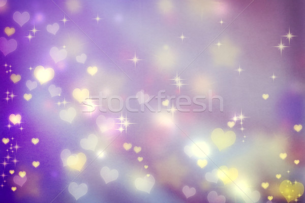 Stock photo: Small hearts on purple background