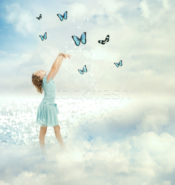 Little Girl with Butterflies Stock photo © Melpomene