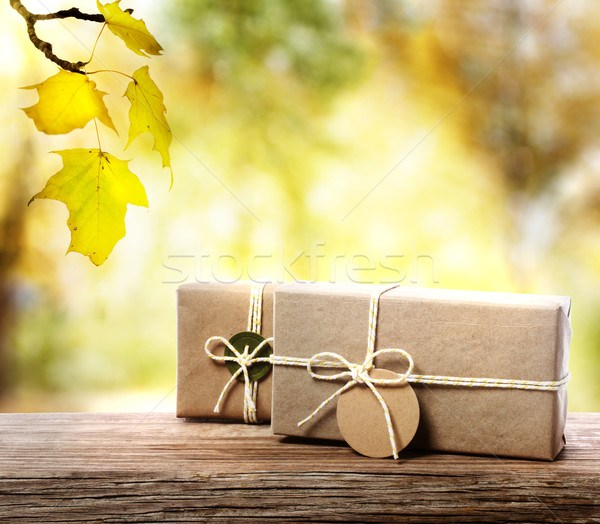 Handcrafted gift boxes  with an autumn foliage background Stock photo © Melpomene