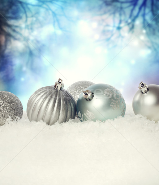 Christmas baubles on the snow Stock photo © Melpomene