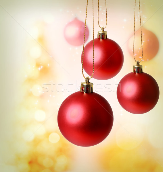 Piros karácsony díszek arany absztrakt háttér Stock fotó © Melpomene