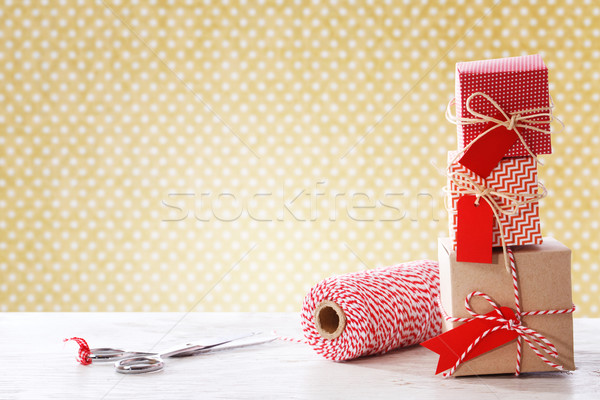 Handmade small boxes with scissors and spool Stock photo © Melpomene