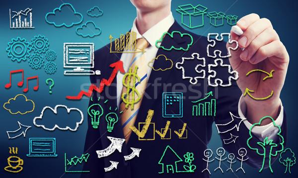 Konnektivitás felhő alapú technológia üzletember kéz írott internet Stock fotó © Melpomene
