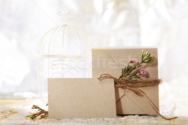 Hand crafted card stock present box and card Stock photo © Melpomene