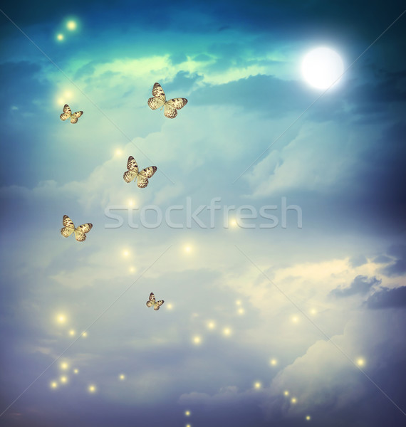 Butterflies in a fantasy moonligt landscape Stock photo © Melpomene