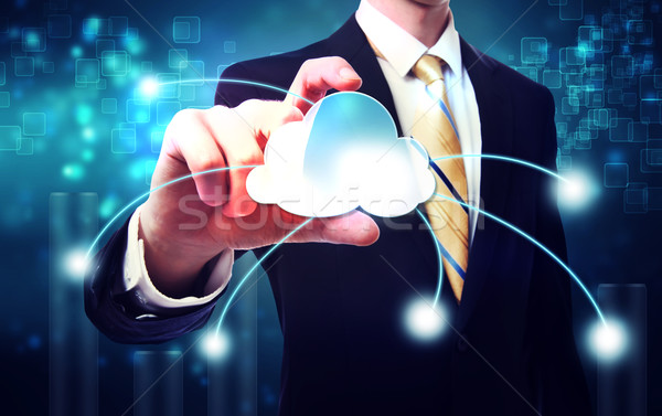 Business man with blue cloud computing concept  Stock photo © Melpomene