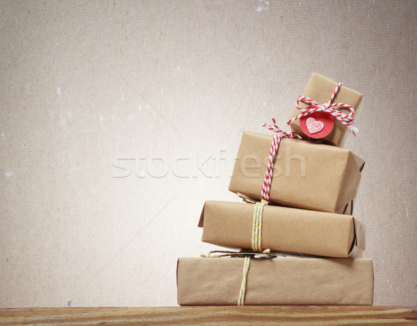 Stack of handcrafted gift boxes Stock photo © Melpomene
