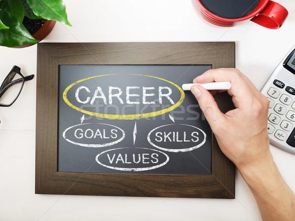 Career flowchart sketched on a chalkboard Stock photo © Melpomene