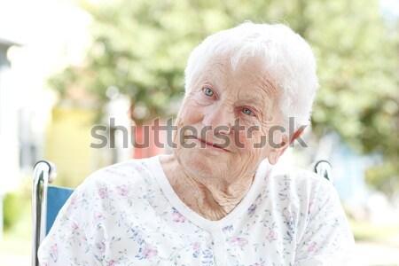 Idős hölgy veranda áll nő ház Stock fotó © Melpomene