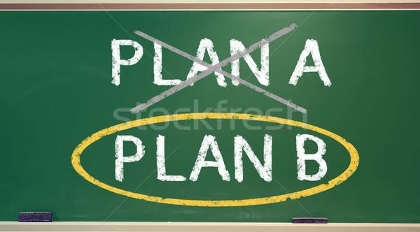 Plan b tebeşir tahta sarı daire yeşil Stok fotoğraf © Melpomene