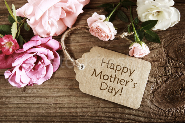 Mothers day card with rustic roses Stock photo © Melpomene