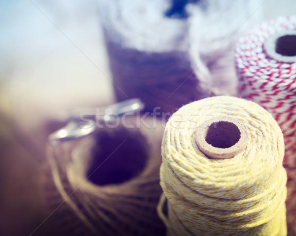 文字列 異なる 色 はさみ テクスチャ 背景 ストックフォト © Melpomene