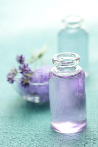 Aromaterapi yağ lavanta açık mavi çiçek doğa Stok fotoğraf © Melpomene