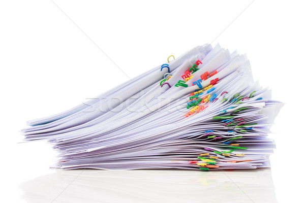 Pile of paper with colorful clips Stock photo © Melpomene