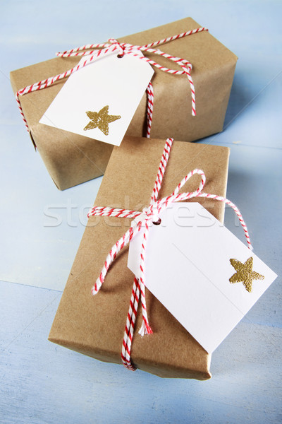 Handcraft giftboxes with ribbons and tags Stock photo © Melpomene