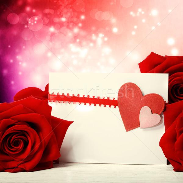 Сток-фото: сердцах · красные · розы · красивой · аннотация · фары