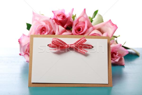 Stock fotó: Kézzel · készített · kártya · rózsaszín · rózsák · üzenet · világoskék