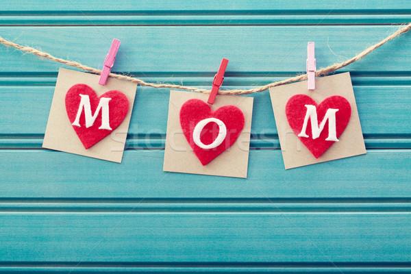 Mothers day message on felt hearts Stock photo © Melpomene