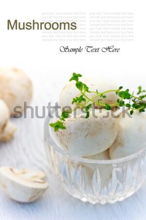 Champignons verre tasse cuisine blanche Cook Photo stock © Melpomene