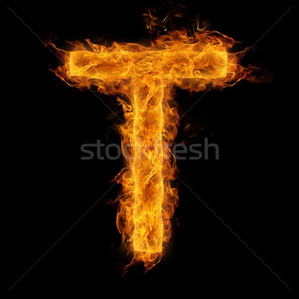 Flaming Letter T Stock photo © Melpomene