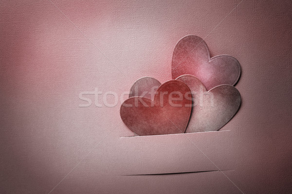 Paper cut red hearts Stock photo © Melpomene