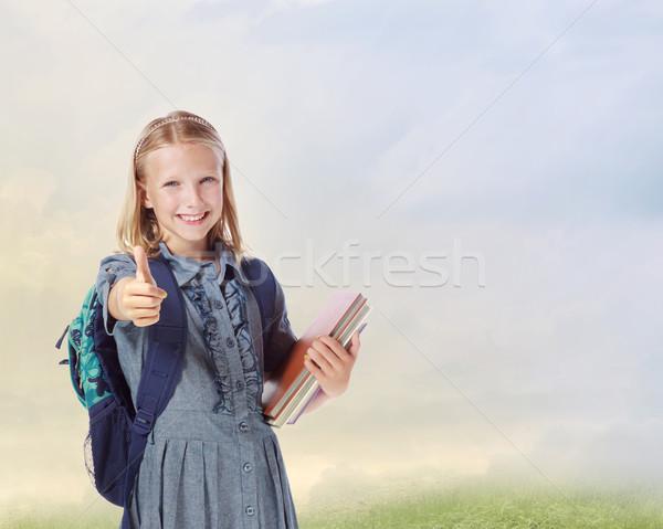 Photo stock: Fille · école · jeunes · blond · livres