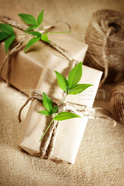 Stock photo: Rustic Present boxes
