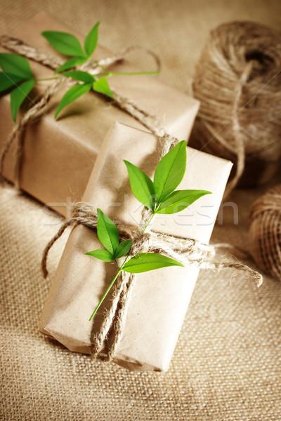 Rústico presente cajas naturales estilo Foto stock © Melpomene
