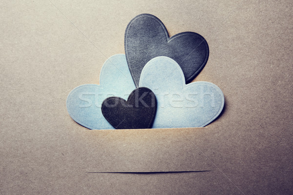Paper cut blue and black hearts  Stock photo © Melpomene