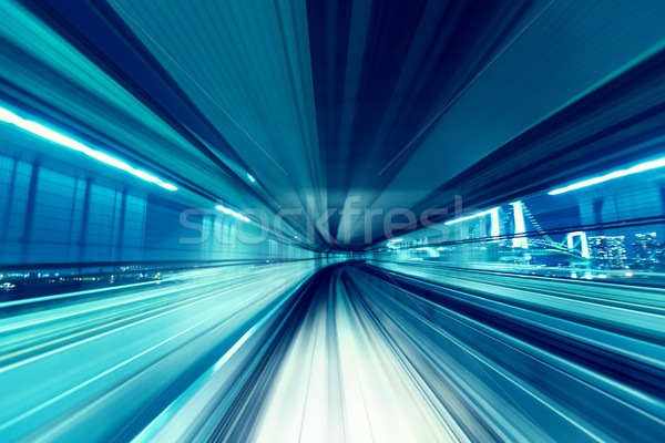 Automated guide-way train at night Stock photo © Melpomene