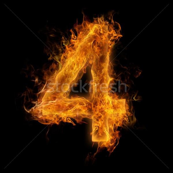 Foto stock: Chamejante · número · ardente · quatro · textura · fogo