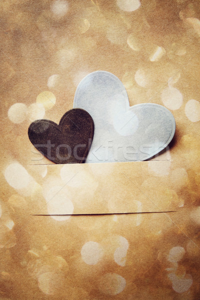 Hand crafted paper hearts and circle lights Stock photo © Melpomene
