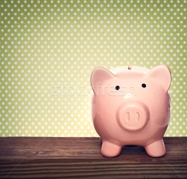 Tirelire vert rose papier heureux Photo stock © Melpomene