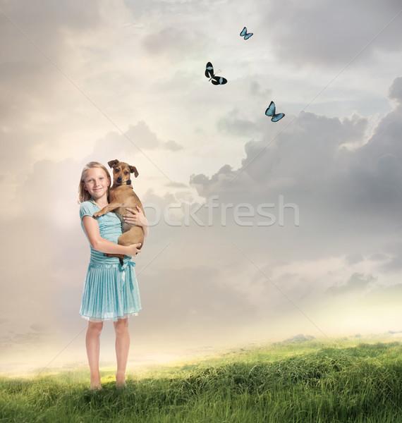Stock fotó: Lány · kutya · fiatal · szőke · nő · varázslatos · hegy